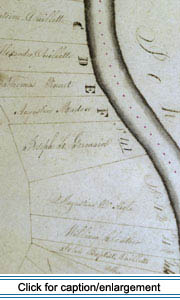 A section of the Frenchville area from a series of maps drawn shortly after the Webster-Ashburton Treaty showing the newly-established American