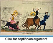 "1839 satirical drawing on the escalation of tensions during the ""Bloodless"" Aroostook War. The artist here ridicules the combative elements on both sides. President Van Buren sits astride an ox with Maine Governor Fairfield's head, wielding a sword and a shield emblazoned with a cabbage. The ox confronts a dog with the head of the Duke of Wellington, ridden by England's Queen Victoria, also armed with sword and shield. In the background British and American troops face each other across an open plain, while men fell timber in between. Lithograph with watercolor on wove paper."