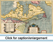 Map of Canada published by French mapmaker Pierre Du Val in 1677 based on an earlier map by Champlain.