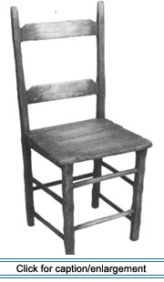 With its chamfered legs, mortise-and-tenon frame, and plank seat, this painted side chair (ca. 1860-1890) typifies traditional Valley chairs.