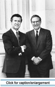Former senators William Cohen and George Mitchell testified in favor of the Maine Acadian Culture Preservation Act. Courtesy of the William S. Cohen Papers, Special Collections Department, Raymond H. Fogler Library, University of Maine at Orono.