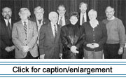 "Members of the Maine Acadian Culture Preservation Commission. Left to right: Victor Konrad, Roger Paradis, Edward ""Sandy"" Ives, Claude ""Blackie"" Cyr, Richard Dumont, Judy Paradis, Earle Shettleworth, Geraldine Chasse, and John Martin."