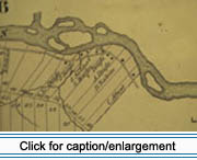 Excerpt from an 1877 map of land lots just west of the town of Fort Kent shows Lot 53, the site of the Eloi Daigle House, then owned by Vital Daigle.