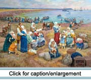 """Ships take Acadians into Exile,"" painting by Claude Picard"