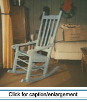 This handmade rocking chair originally belonged to Vital Hébert and his wife Léa Pelletier, who married at Ste-Luce Parish in Frenchville in 1876.