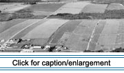 "Aerial view of the Upper St. John Valley. The pattern of fields is suggestive of the original ""long lot"" land grants."