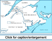 "Map showing the ""Madawaska Settlement"" region and the areas in what is present-day Quebec and New Brunswick from which the first settlers immigrated."