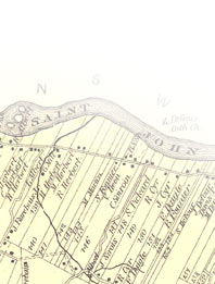 Detail of St. John Valley map from Frederick B. Roe's Atlas of Aroostook County Maine, published in 1877. Acadian Archives collection, University of Maine at Fort Kent.