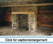 The fireplace in the Roy house has been reconstructed with a hemlock beam lintel, a typical feature in many eary fireplaces. The lintel, which held up the stones over the fireplace opening, was high enough to escape direct flames and was first soaked in brine to render it fire resistant.
